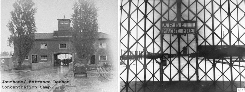 L'entrata principale di Dachau KL e particolare del cancello con la scritta Arbeit Macht Frei
